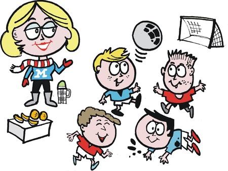 Vector de dibujos animados de la mam� de f�tbol con los ni�os jugando el deporte Foto de archivo - 14231424