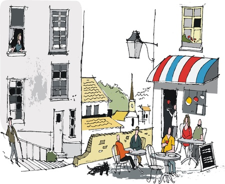 the village: Vector illustration of old French cafe and diners Illustration
