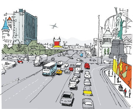las vegas strip: illustration of Las Vegas strip and traffic Illustration