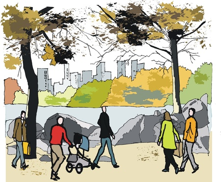 central park: ilustraci�n de follaje de oto�o en Central Park, Nueva York