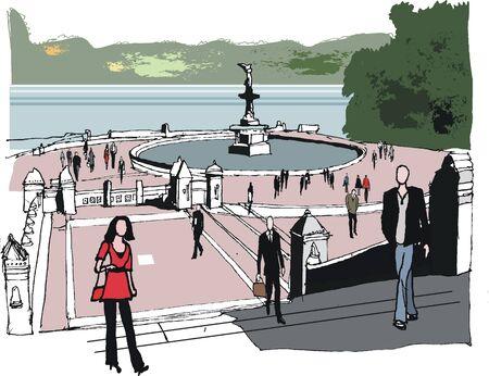 central park: Ilustraci�n de Central Park, Nueva York. Vectores