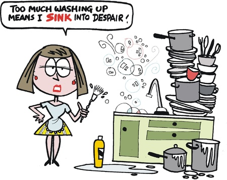 cartoon of housewife washing dishes in kitchen.