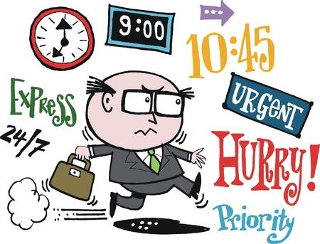 frowning: cartoon of businessman rushing.  Illustration