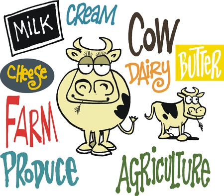 cartoon of cow with farm signs. Stock Vector - 14508482