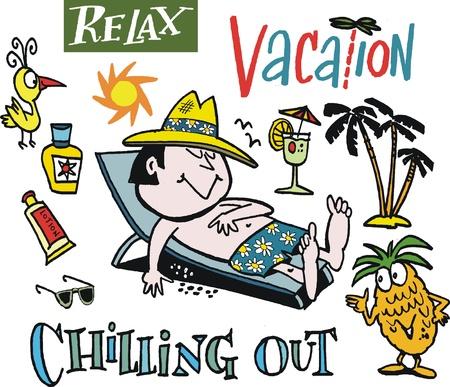 siesta: cartone animato dell'uomo relax in vacanza.