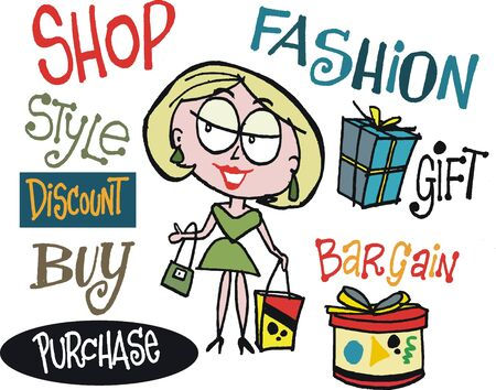 cartoon of woman shopping for gifts. Stock Vector - 14508489