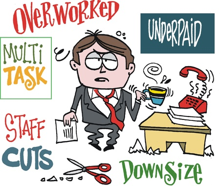 underpaid: Vector cartoon of overworked executive Illustration