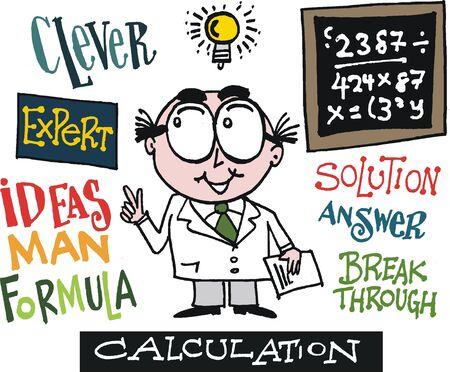 Vector cartoon of scientist with bright idea Stock Vector - 14536689