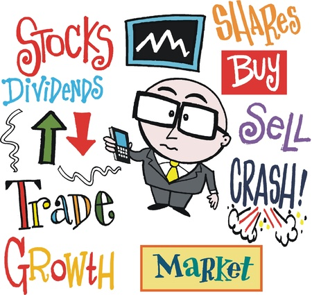 sell shares: cartoon of stock market trader with signs