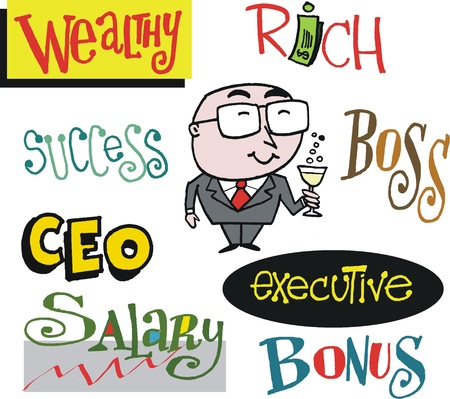 Vector cartoon of business executive with status signs Stock Vector - 14602134