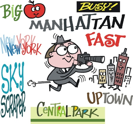 uptown: cartoon of man taking photos in New York Illustration