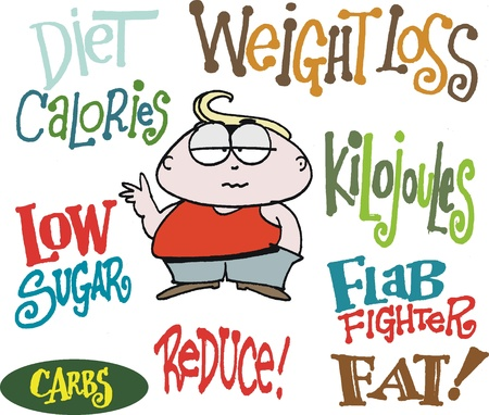 low fat diet: cartoon showing overweight man