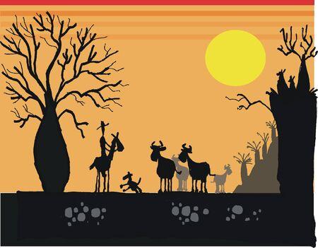 stockman: illustration of Australian stockman at sunset Illustration