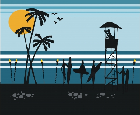lookout: illustration of surfers on beach at sunset