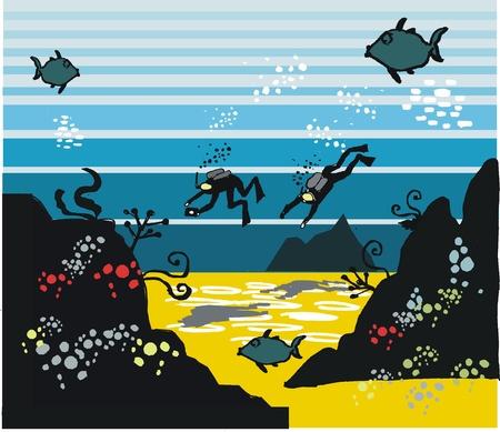 illustration of skin divers exploring underwater. Stock Vector - 14854209