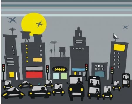 illustratie van de stad verkeer 's nachts.