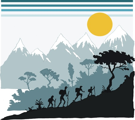 illustration of hikers in alpine area. Vector