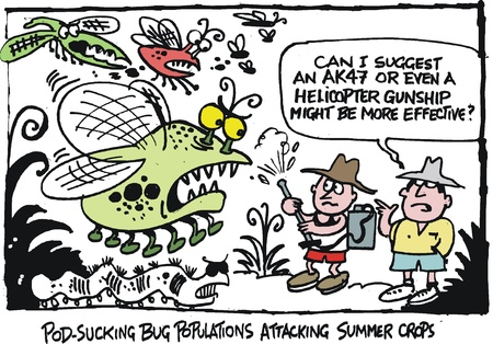 menacing: cartoon of farmers spraying crop pests. Illustration
