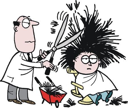 cartoon van kapper knippen van haar