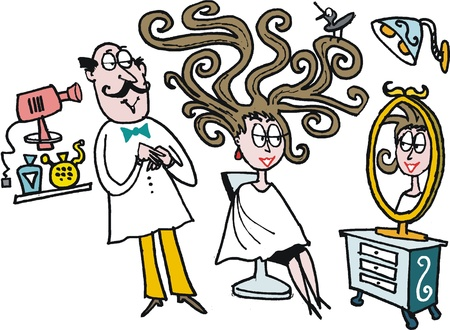 cartoon hairdresser: cartoon of woman at hairdresser