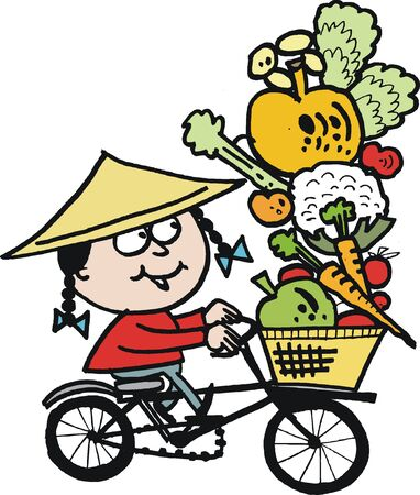 cartoon of Asian man on bicycle Stock Vector - 15170135