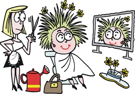 jokes: cartoon of hairdresser styling hair