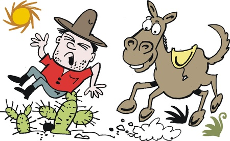 bronco: cartoon of cowboy being tossed from horse Illustration