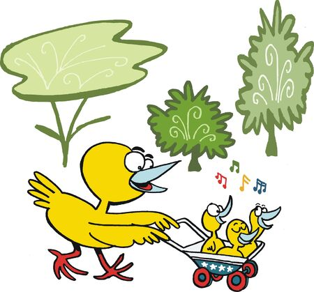 cartoon of yellow bird with chicks Stock Vector - 15324807
