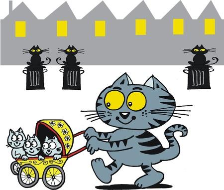 triplets: cartoon of cat with kittens in pram. Illustration