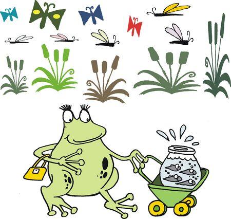 cartoon of frog pushing pram with tadpoles Stock Vector - 15324823
