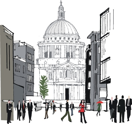 cupola: old buildings in London UK Illustration
