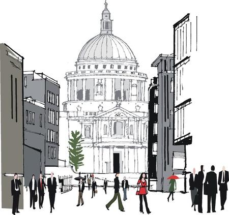 cupola: old buildings in London UK Illustration