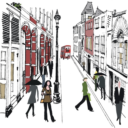archway:  illustration of pedestrians in London street