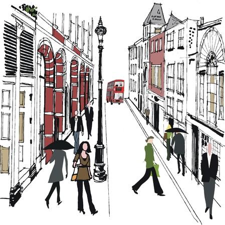 red bus:  illustration of pedestrians in London street