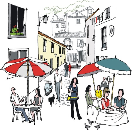 illustration of village cafe scene, Portugal