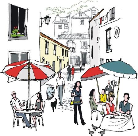 illustration of village cafe scene, Portugal