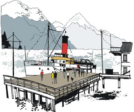 Vector illustration of vintage steamer, Queenstown, New Zealand