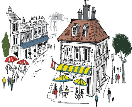 awning: illustration of french village street scene