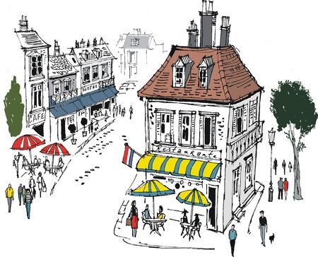 roof line: ilustraci�n de la escena de calle del pueblo franc�s Vectores