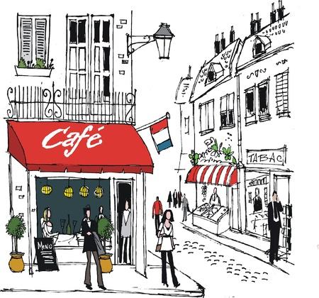 уличный фонарь: иллюстрации французской сцене кафе деревенской улице Иллюстрация