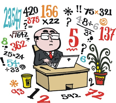 square root: Vector cartoon of accountant at office desk.