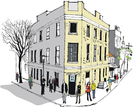 old street: Vector illustration of old pub in Sydney Australia