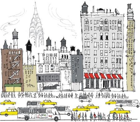 Vector illustratie van New York gebouwen en het drukke verkeer Stock Illustratie