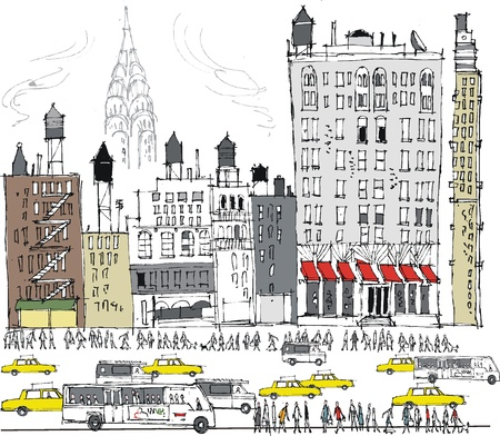 Vector illustration of New York buildings and busy traffic