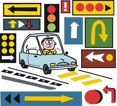 bewildered: Vector cartoon of motorist with warning road signs Illustration