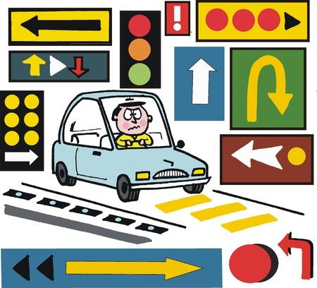 motorist: Vector cartoon of motorist with warning road signs Illustration