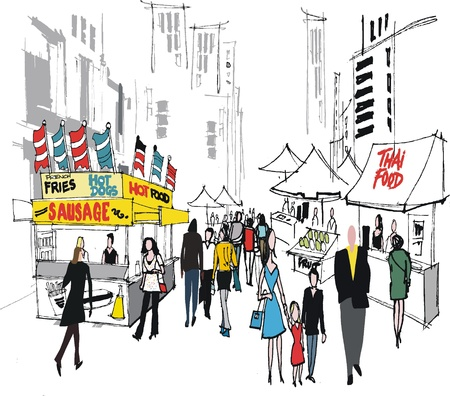 thai women: Vector illustration of street market, New York.  Illustration