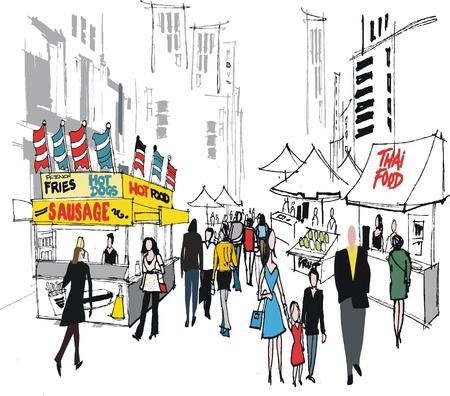 woman street: Vector illustration of street market, New York.  Illustration