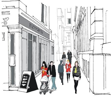 Vector illustration of pedestrians in Whitehall, London Stock Vector - 16404354