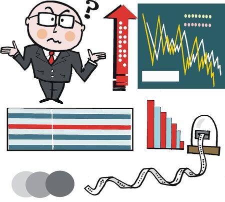 questioning: Vector cartoon verwirrter Gesch�ftsmann mit Graph-Daten Illustration